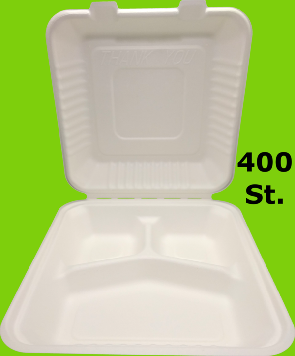400 Mayax Bagasse Clamshells - 3-compartment - 230x230x76mm - 1300ml Eco-Friendly Lunch Box