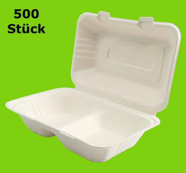 500 Mayax Bagasse Clamshells - 2-compartment - 230x153x80mm - 700ml Eco-Friendly Lunch Box